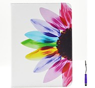 Beautiful Petals Pattern PU Leather Case Cover with A Touch Pen ,Stand and Card Holder for iPad Air