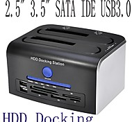 "2.5""3.5"" USB 3.0 Dual SATA eSATA USB 2.0 HUB Hard Disk Drive HDD Docking Station"
