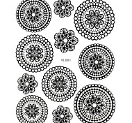 1PC New Design 3D Nail Art Stickers Trendy Nail Wraps Nail Decals Black Flower Lace Nail Polish Decorations