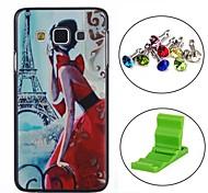 com vista para a Torre Eiffel padrão pc caso tampa traseira dura com ficha anti-poeira e stand para Samsung Galaxy a3 A3000
