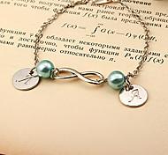 Fashion Blue Beads Letter Eight Silver Alloy Bracelet(1 Pc)