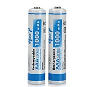 2 PCS Rechargeable Replacement 1.2V 1000mAh AAA NiMH Batteries Set(White and Blue)