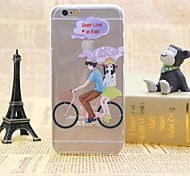 Couple Cycling Pattern TPU Relief Thin Transparent Diamond Paste Back Cover Case for iPhone 6/6S
