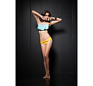 Blue Lotus Leaf Edge Folds Sling Yellow Ruching Bottomwear Bikini