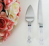 mariage couteau de gâteau de fête et le serveur avec poignée de cristal faux 33,58 * 5.2 * 2cm