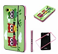 2-in-1 Colorful Rainbow Owls Pattern TPU Back Cover with PC Bumper Shockproof Soft Case for Xperia E3