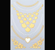 1PC New Gold Tattoos Heart/Flower Temporary Tattoos Flash Tattoos Metallic Tattoos Wedding Party Tattoos(25*15.5cm)