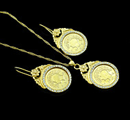 18K Real Gold Plated Coin Pendant Necklace+Earrings Jewelry Set