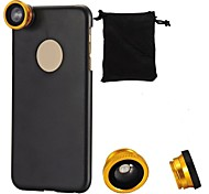 180°Fish Eye + Wide Angle + Macro Lens 3-in-1 Camera Lens Kits for iPhone 6 Plus with Back Case Cover (Assorted Color)