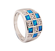 High Quality Fashion Platinum Opal Ring Water Blue Grid