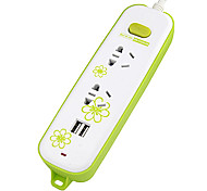 QW-X520USB Flowerlet Extension Socket with 1.8M GB Plug AC Power Cable Assorted Colors
