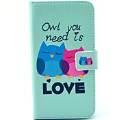 Owl You Need Love Pattern PU Leather Full Body Case with Stand and Card Holder for Samsung Galaxy S6