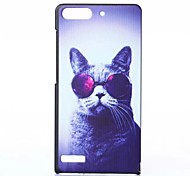 Cat Pattern PC Hard Case with Anti-dust Plug and Stand for Huawei G6