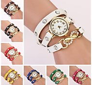 Women's Round White Dial Leather Band Quartz Bracelet Watch  (Assorted Color) C&D34 Cool Watches Unique Watches