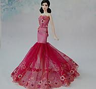 Barbie Doll - Abiti - Matrimonio - di Organza/Pizzo - Rosso - Abiti