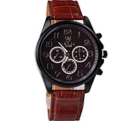 Men's Fashion Three Eyes Unique Design Circular Dial PU Leather Strap Quartz Movement Wrist Watches (Assorted Colors)