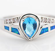 High Quality Fashion Water Blue Heart Opal Ring