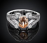Fashion Big Popular Diamante Women Silver Zircon Statement Rings(Silver)(1Pcs)