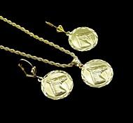 18k banhado a ouro verdadeiro horsehead relie moeda pingente de colar + brincos conjunto de jóias