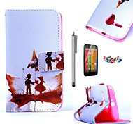 KARZEA™Fallen Childhood Pattern PU Leather Case with Screen Protector and Stylus and Dust Plug for Motorola moto G