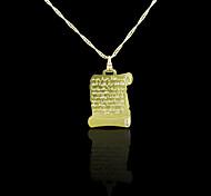 Oro verdadero 18k plateó allah musulmán Koran colgante de 2 * 3.3cm