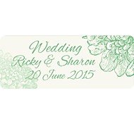 Personalized Wedding Product Labels Green Flower Pattern White Film Paper