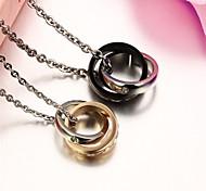 Double Loop Double-color Zirconium Drill X Men and Women Necklace Exquisite Love Gift