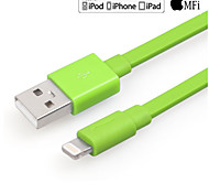 Yellowknife Mfi Lightning 8-Pin To USB 2.0 Charging Sync Data Flat Cable for iPhone 7 6s 6 Plus Green 100cm