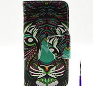 The Lion Pattern PU Leather Case Cover with A Touch Pen ,Stand and Card Holder for iPhone 5/5S