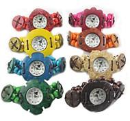 Women's Fashion Coconut Shell Plastic Belt Quartz  Bracelet  Watch (Random Color)