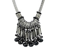 Latest Design Gunblack-Tone Long Beads Tassel Pendant Necklace
