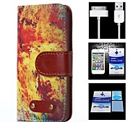 Flame Pattern Full Body Case+1 HD Screen Protector+1 USB Data Transmit and Charging Cable for iPhone 4/4S
