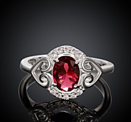 Classical Big Diamante Women Red and Silver Zircon Statement Rings(Red and Silver)(1Pcs)