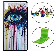 Colorful Ink Eye Painting Pattern PC Hard Back Cover Case with Anti-dust Plug and Stand for Sony Xperia M4 Aqua