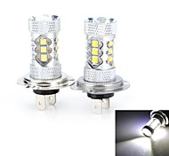 High Power H7 80W 3000lm 6500K White Light 14xCree LED Car Fog / Head Lamp (12V / 2 PCS)