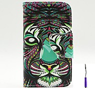 The Lion Pattern PU Leather Case Cover with A Touch Pen ,Stand and Card Holder for iPhone 4/4S