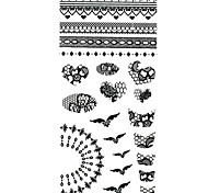 1PC French Style Black Nail Art Stickers Nail Wraps Nail Decals Blue Feather Nail Polish Decorations