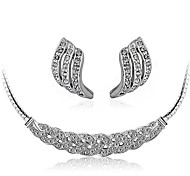 Fashion Women's Full Diamond Crystal Waltz Necklace Earrings
