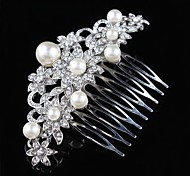 Vintage Wedding Bride Flower Austria Rhinestone Pearl Silver Combs Hair Accessories