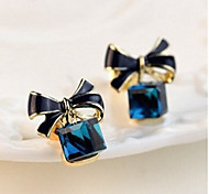 Korea Blue Cube Crystal Simple Bowknot Stud Earring(1pair)