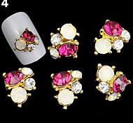 Red Lovely/Wedding Finger/Toe Nail Jewelry/Glitter Metal 5PCS 4*3*1