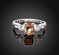 Fashion Simple Big Diamante  Shape Women Orange and Silver Zircon Statement Rings(Orange and Silver)(1Pcs)