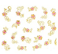 1PC 3D Nail Art Stickers Nail Wraps Nail Decals Gold Pink Flower Nail Polish Decorations