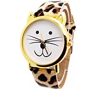 Women's Cat Head Leopard Circular Belt China Movement Watch(Assorted Colors)