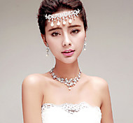 Graceful Rhinestones/Imitation Pearls Titanium Jewelry Sets/Necklace with Earrings with Forehead Piece
