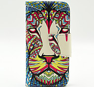 LEXY® Lion Tribal Pattern PU Full Body Leather Case with Screen Protector and Stylus for iPhone 5C