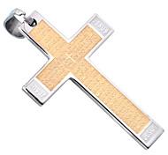 Fashion Men 6.2cm*4cm 18K Gold/Silver Platinum Plated Stainless Steel Tablet Prayer Cross Pendants