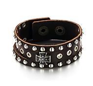 Punk Cross Leather Bracelet