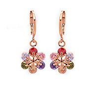 Women's Fashion 18K Gold Filled Snowflake Colorful CZ Stone Pierced Dangle Earring