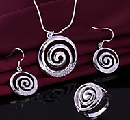 Silver Jewelry,Silver Fashion Jewelry Crystal Thread Necklace&Earrings&Ring Jewelry Sets For Women SS627